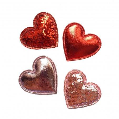 Набор из красно-розовых сердец, 3,3х2,7 см, 4 штуки
