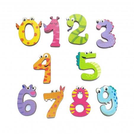 Набор деревянных цифр с глазками 4 см (0-9), цвет микс
