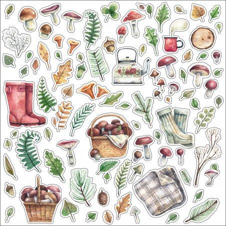 Набор наклеек ( стикеров ) Лесные дары, 20х20 см (92 наклейки)