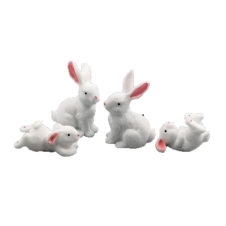 Декоративный пластиковый Зайчик (в ассортименте), 1,8-4,4 см, цвет белый, 1 штука