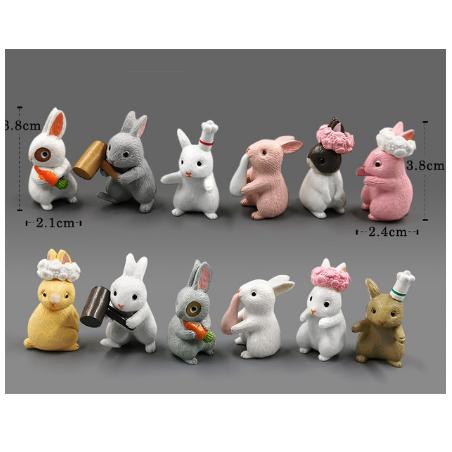 Декоративный пластиковый Кролик (в ассортименте), 2,1х3,8 см, цвет микс, 1 штука