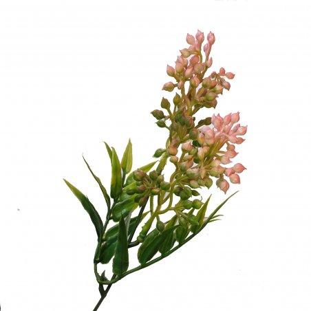 """Искусственная зелень """"Куст с ягодкой"""", цвет розовый, 20 см"""