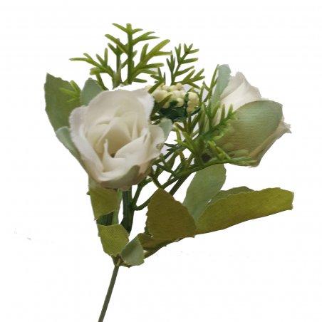"""Искусственная зелень """"Куст мелкой розы"""", цвет белый, 17 см"""