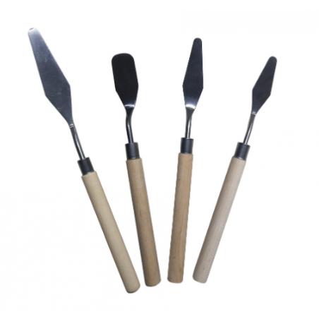 Набор мастихинов с деревянной ручкой, 3 штуки