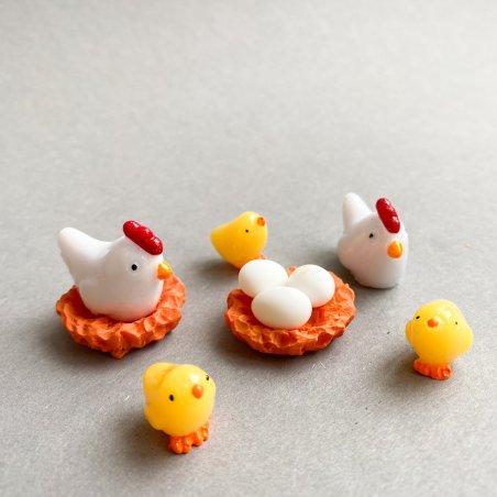 """Набор декоративных пластиковых фигурок """"Курочка, яйца, цыплята"""", 5 штук"""