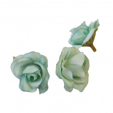 Набор розочек без ствола (головы), цвет Тиффани, 3 штуки