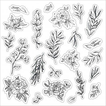 Набор наклеек ( стикеров ) Черно-белая ботаника, 20х20 см (23 наклейки)