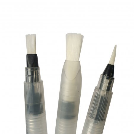 Набор синтетических кистей S-M с резервуаром, 3 штуки