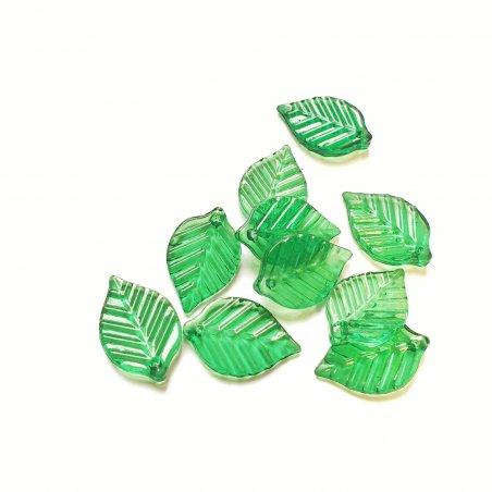 Пластиковые бусины-подвески Листики, 22х14 мм, цвет салатовый, 10 штук