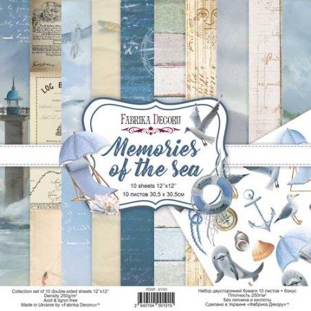 "Набор двусторонней бумаги 30,5х30,5 см ""Memories of the sea"",  250г/м2, 10 листов+бонус"