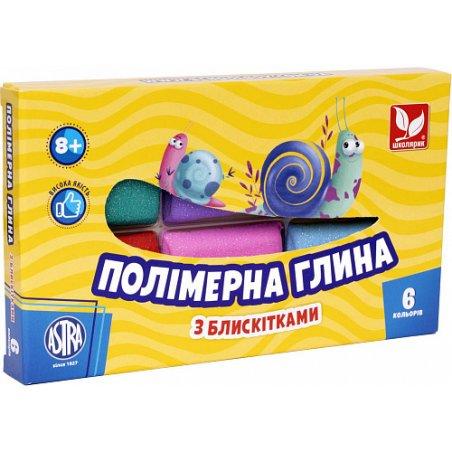 """Набор полимерной глины """"ASTRA"""", с глиттером, 6 штук"""