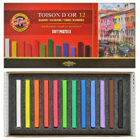 Суха м'яка крейда-пастель KOH-I-NOOR TOISON D'OR, 12 кольорів