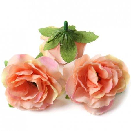 Набор розочек без ствола (головы), цвет персиковый, 3 штуки