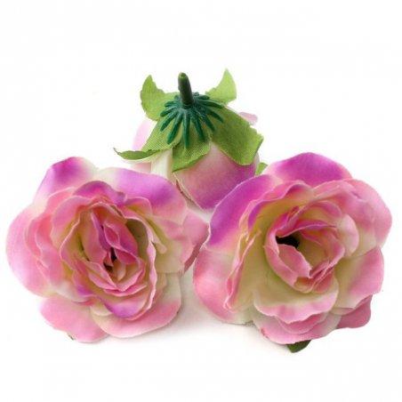 Набор розочек без ствола (головы), цвет розово-малиновый, 3 штуки