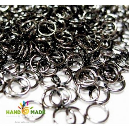 Соединительные кольца из черненого металла 0,8 см, 2 грамма