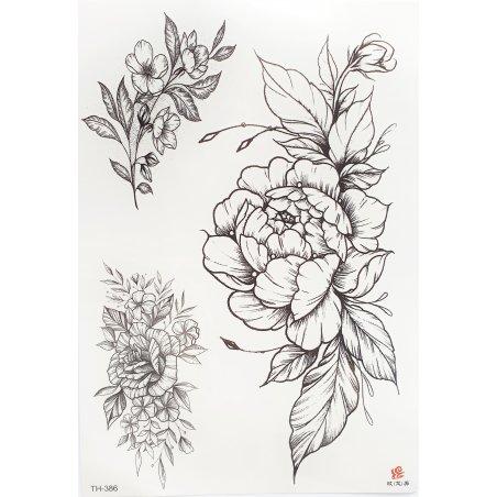 """Переводные тату """"Цветы и листья"""" ТН-386, 3 штуки"""