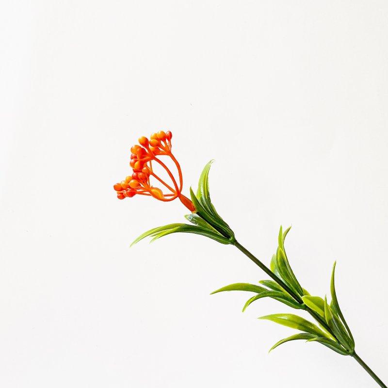 """Искусственная зелень """"Ветка облепихи"""", цвет оранжевый, 23 см"""
