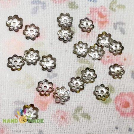 №1 Обіймачі для намистин маленькі, колір - сталь, 20 штук