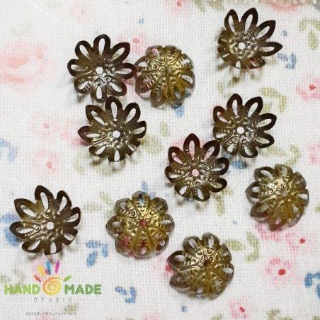 №16 Обіймач для намистин, колір бронза, квітка гостролист, 10 штук