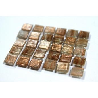 Мозаика стеклянная светло коричневая с пигментными разводами GA03,1х1 см.