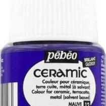 Краска-эмаль лаковая непрозрачная Ceramic Pebeo 12, цвет - пурпурный, 45мл.