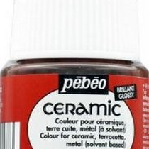 Краска-эмаль лаковая непрозрачная Ceramic Pebeo 17, цвет - коричнево-красный, 45мл.