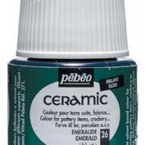 Краска-эмаль лаковая непрозрачная Ceramic Pebeo 26, цвет - изумрудный, 45мл.