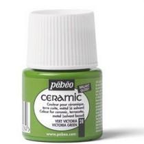 Краска-эмаль лаковая непрозрачная Ceramic Pebeo 28, цвет - светло-зеленый, 45мл.