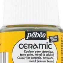 Краска-эмаль лаковая непрозрачная Ceramic Pebeo 33, цвет - светло-желтый, 45мл.