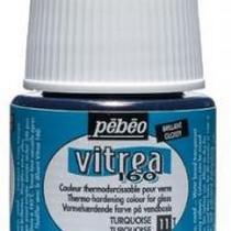 Краска для стекла под обжиг Vitrea Pebeo 11, цвет - турецкий голубой, 45мл.