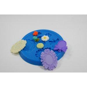"""Термоустойчивый набор силиконовых молдов  """"Цветки  и рамочки"""""""