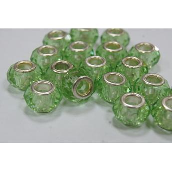Бусина пандора граненая, стекло, цвет светло-зеленый 15х10 мм