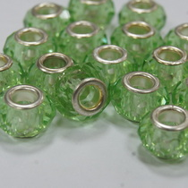 Бусина пандора граненая, стекло, цвет светло-зеленый, 15х10 мм, №11