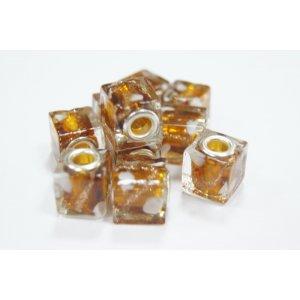 Бусина пандора квадратная, стекло, цвет светло-коричневый с золотом 12х12 мм