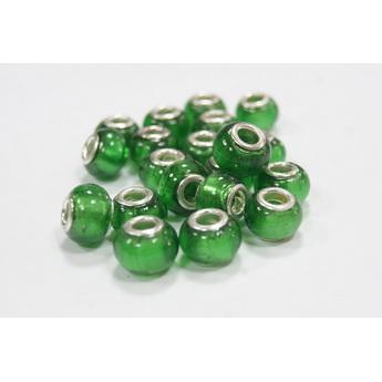 Бусина пандора круглая матовая, стекло, цвет зеленый, 8х14 мм
