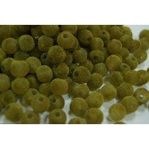 Бархатные бусины круглые, цвет оливковый, 1 см
