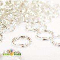Соединительные кольца двойные, цвет  серебро 0,7 см