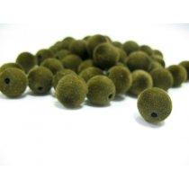 Бархатные бусины круглые, цвет оливковый, 1,3 см, №5