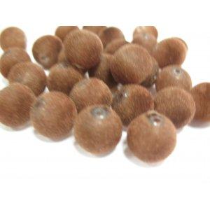 Бархатные бусины круглые, цвет коричневый, 1 см, №16