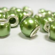 Бусина пандора круглая, стекло, цвет оливковый матовый 8х10 мм