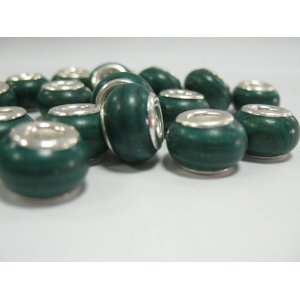 Бусина пандора круглая, керамика, малахит 13х10 мм