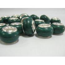 Бусина пандора круглая, керамика, малахит 13х10 мм №43