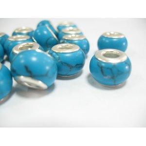 Бусина пандора круглая, керамика, бирюза 13х10 мм