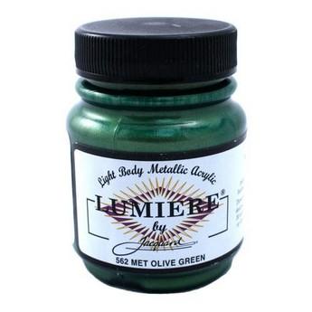 Акриловая краска JACQUARD LUMIERE - 562 METALLIC OLIVE GREEN (Оливково-зеленый)
