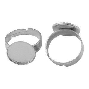 Основа для кольца с платформой, цвет - сталь