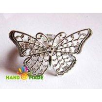 """Основа для кольца с ажурной платформой """"бабочка"""" 40x26 мм, цвет серебро"""