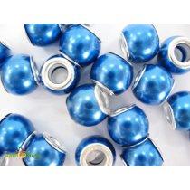 Бусина пандора круглая матовая, стекло, цвет синий 10х10 мм №51