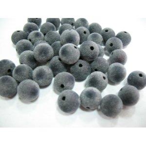 Бархатные бусины круглые, цвет серый, 1 см, №9