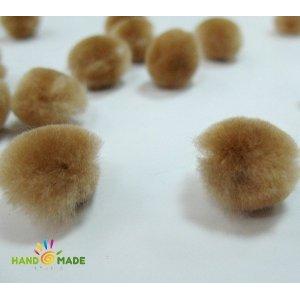 Текстильная мохнатая бусина, цвет бежевый