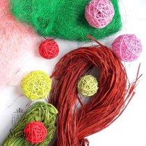 Сизаль, рафия, шарики из ротанга